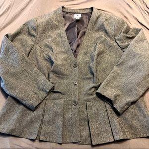 Plus Size Gray Blazer with Peplum